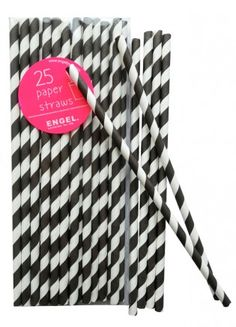 Paper straws stripe black