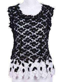 Black and White Sleeveless Leaf Lace Blouse - Sheinside.com