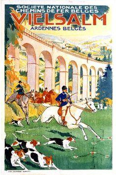 BELGIUM - Vielsam - Riding to hounds - Lentrein  - 1925 Ardennes Belges #Vintage #Travel
