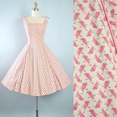 Vintage 50s Novelty BIRD Print Dress / 1950s Cotton Sundress