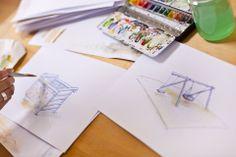 Stunden am Maltisch für einen Spielplatz-Katalog. Container, How To Make, Playground, Catalog