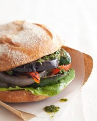 Grilled-Vegetable Sandwich - Grilled eggplant, zucchini, bell peppers, and onion sandwiched in crusty rolls with a little pesto.