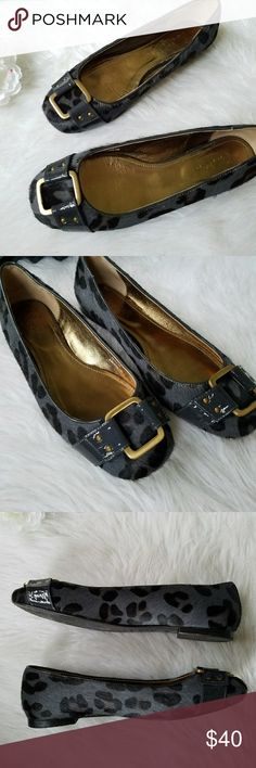 Boden Calf Hair Flats Boden brand. Women's 38 / 7.5 Gray and black cheetah print pattern calf hair outer. Leather strap and bronze buckle accent on the toe.  Cushioned insole. Excellent condition. Bottoms show the only wear. Boden Shoes Flats & Loafers