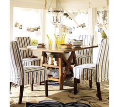 Slipcover chairs in color and pattern.  A super easy upgrade is to recover the seats of wooden dining chairs.