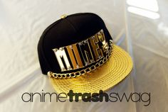 it's all about that MONEY, HONEY。.★・*$:*  one size fits all snap back, with custom cut GOLD MONE¥ acrylic, gold chain & gold $ cutie mark on the back!!!!  ✧✧will ship out in 2-3 weeks✧✧