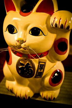 Japanese beckoning cat, Maneki Neko 招き猫  ------------- #japan #japanese