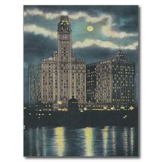 Shop Vintage Wrigley Building Chicago Postcard created by thedustyattic. Chicago At Night, Chicago Poster, Guys And Dolls, World's Fair, Custom Posters, Vintage Postcards, Postcard Size, Paper Texture, Building
