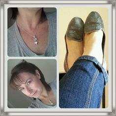 Lushberry necklace, grey studded pumps skinny jeans