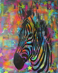 Kleurrijk schilderij Zebra van Femke van der Tak (fem-paintings) te bestellen op werk aan de muur Art, dieren, color, animal, wild, acryl Mixed Media Collage, Animal Paintings, African Art, Collages, Stencils, Abstract Art, Poster Prints, Rainbow, Change