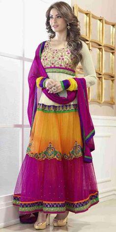 Bipasha Basu Cream And Orange Net Anarkali Suit.