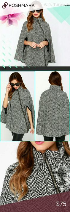 Tweed side zip fashion cape coat This super cute tweed cape is going to be the ultimate must have this fall and winter and will go fast! It has a side zip up to the neck with 2 slits on the side for your arm. Faux pockets with zippers on side. Anti shrink, anti wrinkle, breathable, reversible, quick dry and water proof. Material: Woolen Material, polyester Jackets & Coats Capes