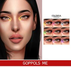 Colorful Eyeshadow Goppols Me Sims 4 Cc Eyes, Sims 4 Mm Cc, Sims 4 Game Mods, Sims Mods, The Sims 4 Skin, The Sims 4 Packs, Muebles Sims 4 Cc, Sims 4 Cc Makeup, Mod Makeup