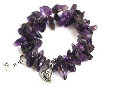 Natural Gemstone Amethyst Chips Memory Wire Bracelet Protection Love Healing USA #Handmade #Cuff
