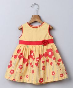 Another great find on #zulily! Yellow Floral A-Line Dress - Infant, Toddler & Girls #zulilyfinds