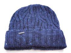9b49afa35a94f Calvin Klein Cuff Fold Shinny Sparkle Blue Acrylic Men s Women s Winter  Beanie Hat - See
