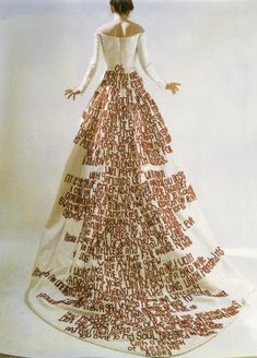 """Plenty have since placed verse on garments. Debbie Talanian's """"Howl"""" skirt, created a few years ago, pays homage to Allen Ginsberg – his streaming lines scribbled out in chunky black capital letters. Kate Daudy's Wedding Dress features a poem cascading down the back from the waist, bright against the white fabric. The final few lines spill out to the edge of the hem, reading, """"a bunch of bleeding roses."""""""