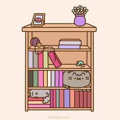 Pusheen needs help filling the bookshelf