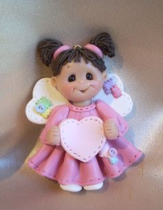 polymer clay angel angelic toddler child personalized by clayqts, $18.50