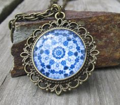 Blue and white Spanish tile necklace  Morrocan  by MontanaMagic