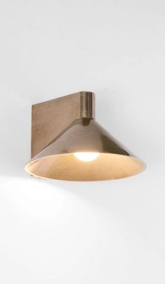 Studio Henry Wilson Polished Cast Bronze Conical Wall Light – Spartan Shop Outdoor Wall Lighting, Wall Sconce Lighting, Interior Lighting, Cool Lighting, Wall Sconces, Lighting Design, Patina Metal, I Love Lamp, Amber Interiors