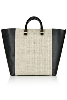 Victoria Beckham Two-tone textured-leather and woven linen shopper | NET-A-PORTER