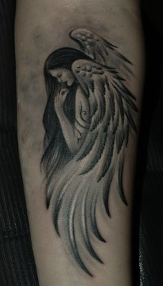 Tattoo Andrey Antraks - tattoo's photo In the style Black and grey, Girls, Ange Feather Tattoos, Rose Tattoos, Body Art Tattoos, Hand Tattoos, Girl Tattoos, Angel Tattoo For Women, Fallen Angel Tattoo, Fairy Tattoo Designs, Tattoo Designs Men
