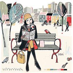 A walk, a book / Un paseo, un libro (ilustración Anna Hymas). Ideas para pasar una  tarde de lujo