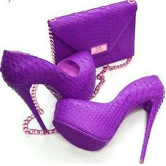 fca48e366a3c Leather Purple High Heels with Purple Soles and matching Purple Purse