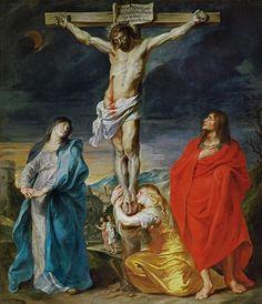 Anthony van Dyck: Cristo crucificado, San Juan y María Magdalena, 1628.