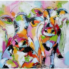 Twee gekleurde vrolijke koeien.