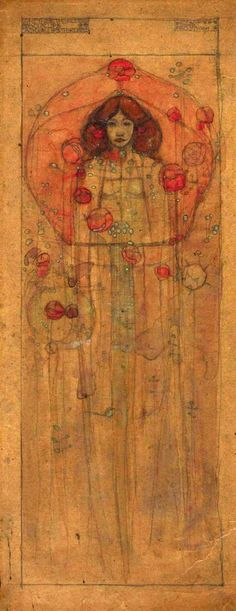 Charles Rennie Mackintosh (1868-1928) - Whether the Roses be your Lips or your Lips the Roses. Pencil and Watercolour on Tracing Paper. Glasgow, Scotland. Circa 1898. 46.3cm x 19.5cm.