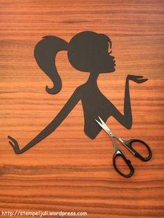 Silhouette Maedchen Frau mit Zopf stempeljuli