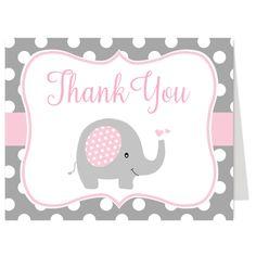 Polka Dot Elephant Pink Thank You Card