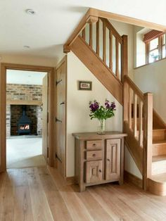 Cottage Staircase, Cottage Hallway, Casas Country, Oak Frame House, Cottage Interiors, House Entrance, Staircase Design, House Goals, My Dream Home