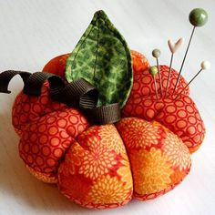 Beautiful fabric pumpkin pincushion -- looks complicated, but it easier than it looks!