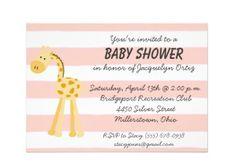Pink Stripe Giraffe Baby Shower Invitation #baby #babyshower #invitation