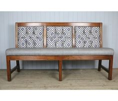 This is our 'armless' Panel Back 3 seater bench, suitable for a pub, restaurant or hotel. It is free standing with polished panels on the back so you can stand it in the middle of a room.