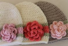 NB to 12M Crocheted Flapper Hat with Cabbage Rose Custom Colour - by KidsCreations on madeit