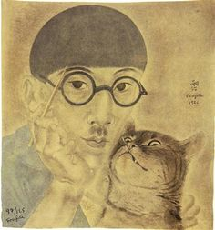 """annedebretagneduchesseensabots: """"To day it occurred to me that I had not visited my dear friend Tsuguharu Fujita for quite a while Self portrait with Minou , Foujita 1926 """" Art And Illustration, Illustrations, Japanese Art Modern, Japanese Artists, Art Asiatique, Magic Realism, Art Japonais, Art Database, Oeuvre D'art"""
