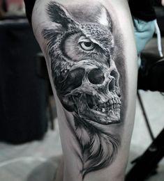tattoo owl and skull - Tattos İdeas Owl Skull Tattoos, Tattoo Owl, Sugar Skull Owl, Graveyard Tattoo, Owl Wings, Samurai Tattoo, Cool Tats, Custom Tattoo, Forearm Tattoo Men