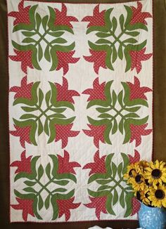 Antique c1850 Applique Red & Green Tulip Wall Crib or Table Quilt 50x33  Vintageblessings