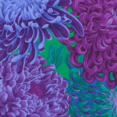 Philip Jacobs Fabric, Japanese Chrysanthemum Purple (per metre),Cotton Patch UK Japanese Chrysanthemum, Turquoise And Purple, Block Of The Month, Family Tattoos, Japanese Fabric, Blues, Concept, Fabrics, Floral