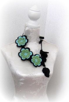 Crochet Jewelry Necklace blackturqouise and green by Iovelycrochet, $42.00
