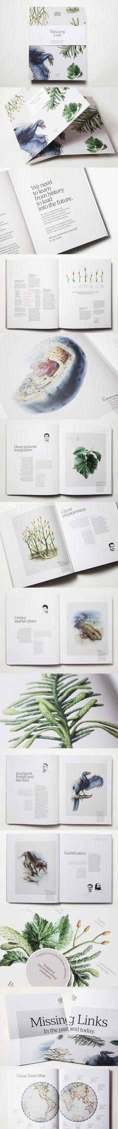 """The Missing Link"" annnual report for New Frontier Group by This is Paper, featuring prehistoric flora & fauna illustrations. http://thisispaper.com/moodley-brand-identity-The-Missing-Link"
