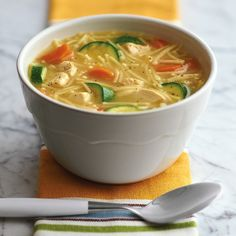 Chicken Noodle Soup There isn't much not to love about this iteration of a heart- and home-warming soup. The zucchini takes it from winter's chill to the bounty of summer. 1 large boneless, skinless...