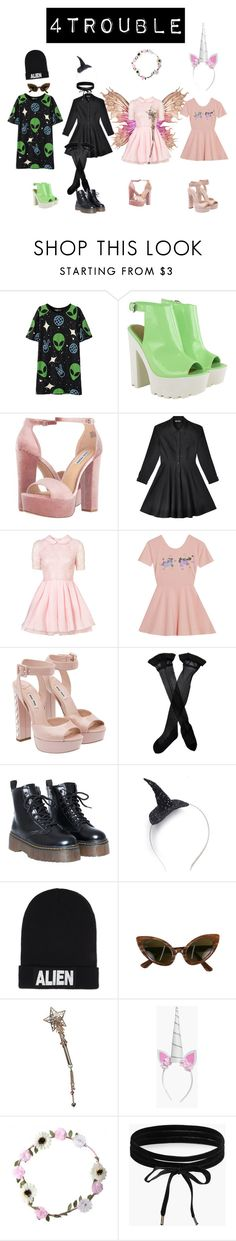 """MYSTIC FUNNY VER."" by fourtrouble ❤ liked on Polyvore featuring Steve Madden, Mary Meyer, Jones + Jones, My Little Pony, Miu Miu, Trasparenze, Crown and Glory, Nicopanda, Oleg Cassini and Boohoo"