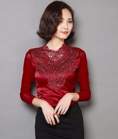 Elegant long sleeves lace floral pattern tops