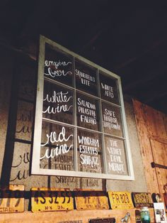 Hand lettered wedding bar menu on an old window pane