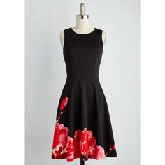 Mid-length Sleeveless Fit & Flare The Best to Date Dress (180 AUD) via Polyvore featuring dresses, apparel, black, fashion dress, fit and flare dress, silver dress, mid length dresses, blossoms dresses and a line dress
