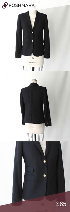 """J. Crew Gold Button Wool Schoolboy Blazer J. Crew black wool schoolboy blazer has two gold-tone button closures, four-button cuffs, three flap pockets, one chest pocket, notched collar and lapels, lightly padded shoulders, and a back vent. Striped lining. Excellent condition. No signs of wear.  Size 6  Length 25"""" bust 38"""" - 39"""" waist 35"""" sleeve 24"""" shoulder to shoulder 15.5"""" J. Crew Jackets & Coats Blazers"""